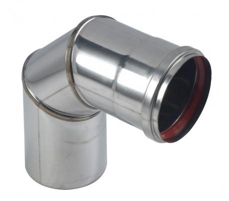 Coude Inox à 90° - Rigidten pour poêle à granulés