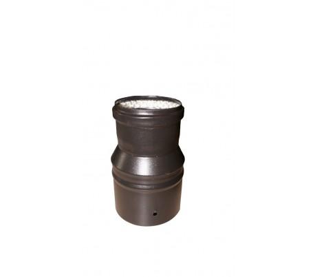 Réduction noir mat 100F x 80M + jointTEN pour Poêle à granulés