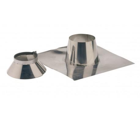 Solin inox + collerette pour pente de toit de 0 à 10° Duoten pour Poêle à bois