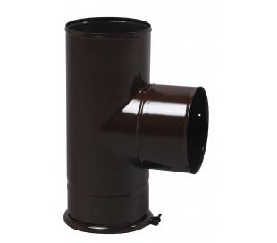 Té équerre emaillé noir mat avec tampon TEN - poêle à bois