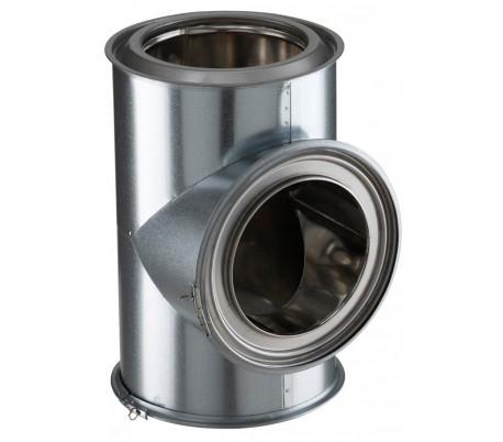 Té isolé à 90° INOX-GALVA - Poêle à bois