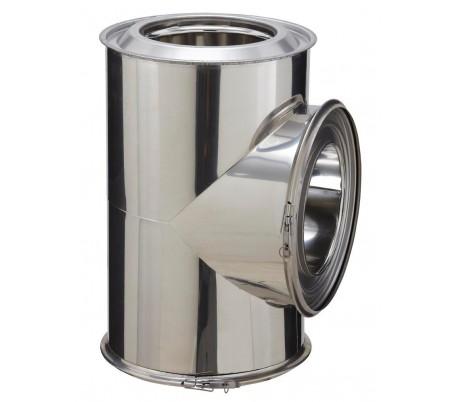 Té isolé inox à 90° INOX-INOX - Poêle à bois